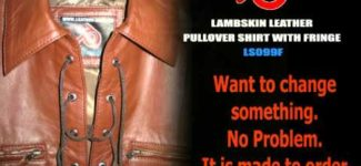 Mens leather shirt pullover style LS099