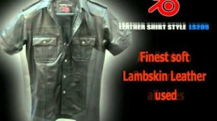 Mens Leather Short Sleeve Shirt LS205