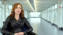 Scarlett Johansson interview in black leather jacket