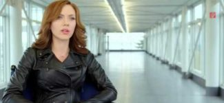 Scarlett Johansson interview in black leather jacket