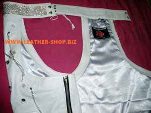 custom white leather chaps