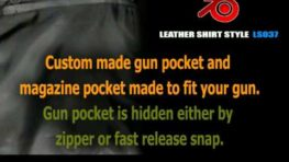 Mens Leather Shirt LS037 with Gun Pocket