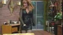 Mistress Peg Bundy black leather skirt video